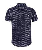 SOOPO Herren Kurzarm Bedruckte Freizeithemd Sommer Regular Fit Fashion Oberhemd für Männer