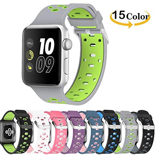Chok Idea correa de reloj reemplazo para Apple Watch Strap, respirable Nike+ Style correa de repuesto deporte Soft Silicone para Apple Watch Strap 38mm Serie 3 2/1,Grey-Green