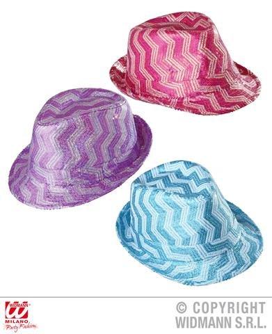 WIDMANN Zickzack-Pailletten Fedora Hut Kopfbedeckung Zubehör für 20er, 30er, 50er Jahre Gangster Mob Kostüm & ()