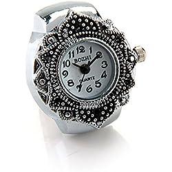 "FACILLA® Tibetan Silver Flower Men Lady Finger Ring Watch 0.87"" HOT"