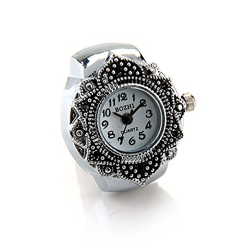 FACILLA® Tibetan Silver Flower Men Lady Finger Ring Watch 0.87