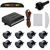 TKOOFN KFZ Summer Einparkhilfe Rückfahrhilfe 8 Sensoren 4 vorne und 4 hinten Hinter mit LED Farb Display Auto Parken Sensor System Pieper Radar Kit Blau