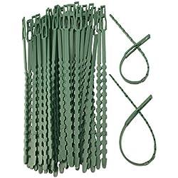 WARKHOME 100PCS x 17 cm Pflanze Schleifen verstellbar Flexibles Kabelbinder Pflanzen Kunststoff Garten Kabelbindern Stütze für Pflanzen Baum shrut Vine