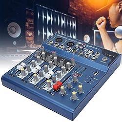 Table de mixage de scène, Console de mixage sonore à Double Affichage LED à 4 canaux à Faible Bruit avec Module MP3 USB pour Diffusion Web et Chanson K(EU)