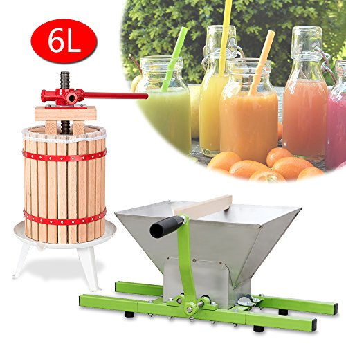 WIS Hengda® 6 Liter Maischepresse Weinpresse Obstpresse & 7 Liter Obstmühle Beerenmühle Traubenmühle