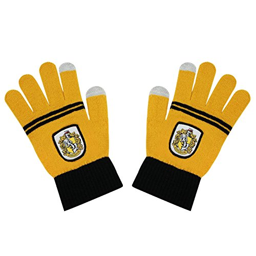 Cinereplicas - Harry Potter - Gants Ecran Tactiles - Licence Officielle - Maison Poufsouffle - Taille Unique - Jaune et Noir