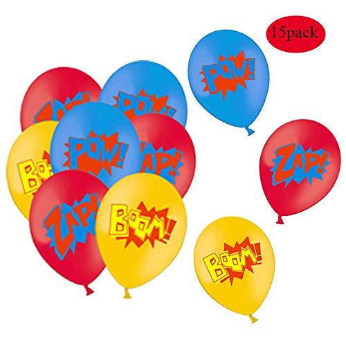 51lUDhf2wBL - Juego de decoración de cumpleaños de superhéroes (31 Piezas) - Globos de Colores con pancartas de superhéroes y pancartas de superhéroes, decoración de Pasteles, Pegatinas y muñequera para niños