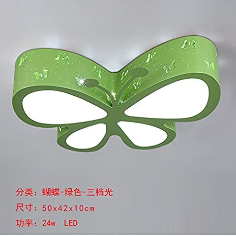 Tytk Butterfly cartoon, 50cm green box, tre luce,i bambini di cartoon lampada da soffitto, per la vostra camera bambino illuminazione, di dare al bambino un spazio onirico