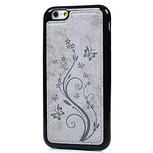 iPhone 6 Hülle Case, iPhone 6S Tasche YOKIRIN 2 in 1 PU Leder + TPU Silikon Schutzhülle Handyhülle Zusammengenäht Handytasche Blumen Schmetterling Silikonhülle Backcover Rückschale Backcase für Iphone Grau
