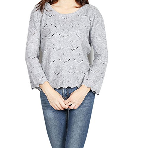 Smile YKK Pull Femme Chic Sweat Col Rond Manche Longue Veste Automne Hiver Pull-over Mode Gris