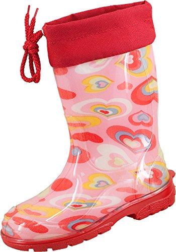 Stivali di gomma dei bambini Eike, Soccer e cuore Rosa