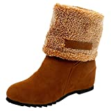 Damen Plush Stiefel, Felicove Damen Wildleder Flache Runde Schlupfstiefel Zehe Keile Schuhe Halten Warme Winterschuhe Slip-On Plüsch Snow Boots Mode Outdoor Stiefeletten Damen Schneestiefel