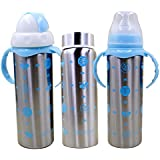 WonderKart Multifuntional Stainless Steel Baby Feeding Bottle With Attractive Color And Beautiful Design - Blue (Pack Of 1 Bottle)
