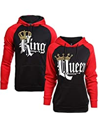 Socluer King Queen Impression Sweat à Capuche Couple Hoodies Pullover Blouse Tops pour Femme Homme Sport Hooded Sweat-Shirt Pull Loisirs