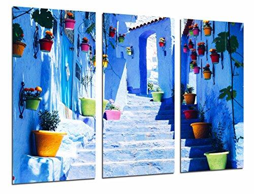 Cuadro Moderno Fotografico Macetas de Colores, Chauen, Marruecos, 97 x 63 cm, Ref. 26806
