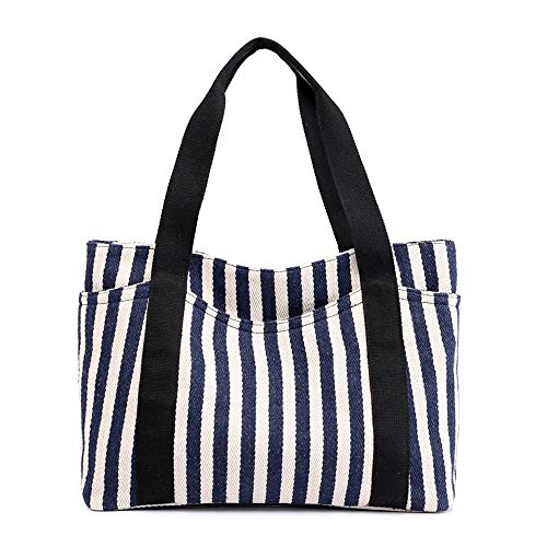 Gestreifte Leinwand Umhängetasche Mode Rucksack for Frauen Große Kapazität Umhängetasche Rucksack Leichte Freizeit Reisetasche Multifunktionale Handtasche (Color : Blue.) - Gestreifte Leinwand