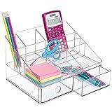 mDesign Organizador de Escritorio con 2 cajones para Guardar artículos de papelería - Organizador de Oficina - Clasificador de plástico con 8 Compartimentos, Incluido portalápices - Transparente