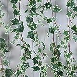 Otun 1,8 m Lange Simulation einzelne Efeu Efeu Klimaanlage Heizung Rohrabdeckung Rattan Hochzeit Pflanze Wand, weiß grün