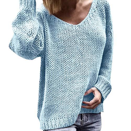 BOLANQ Warmer Plüsch Strickmantel Mit Kapuze, Damenmode V-Ausschnitt Langarm einfarbige Pullover und Strickpullover(XX-Large,Hellblau)