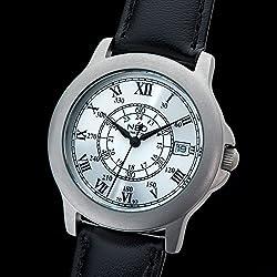 NEO watch SILVER ROMANCE - Classic Quartz Watch - Ladies Analogue Wristwatch - 35mm diameter - Silver dial - Leather strap - N5-016