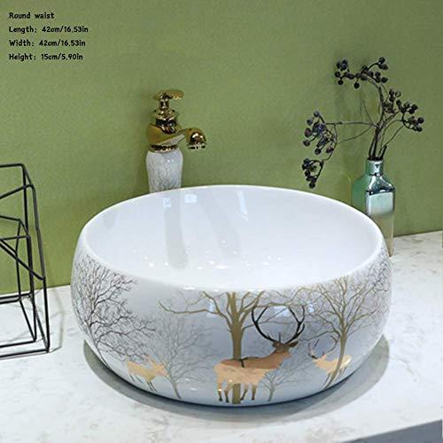 Waschbecken, Keramikwaschbecken Hochtemperatur-Kunsthandwerk mit heißen Blumen, einfacher Stil Aufsatzwaschbecken Waschbecken für Badezimmer Kunstwaschbecken Waschbecken für den Haushalt Runde Taille -