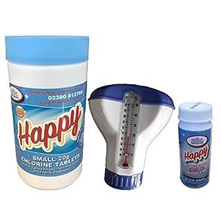 Happy Hot Tubs 1kg Chlorine Tablets + Test Strips + Dispenser Thermometer Hot Tub Spa Kit