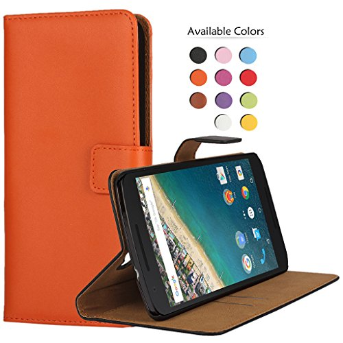 WindCase Nexus 5X Hülle Premium Leder Tasche Case Klappetui Brieftasche Schutzhülle mit Standfunktion Kartenfächer für LG Google Nexus 5X Orange (Strass Nexus 6 Phone Cases)
