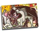 Pablo Picasso Pferde Spanisch Bull Wall Art Print auf Leinwand Bild Kunstdruck auf Leinwand groß A176,2x 50,8cm (76.2cm x 50.8cm)