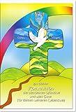 """metalum Premium-Glückwunschkarte zur Kommunion mit schön gestaltetem Metall - Kreuz """"Unter Gottes Flügeln findest du Zuflucht"""" zum Aufhängen"""