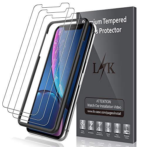 LK Pellicola Protettiva per iPhone XR [3 Pack], [Installazione Semplice Cornice allineamento] Protezione Schermo Vetro Temperato Screen Protector [Garanzia di Sostituzione a Vita]