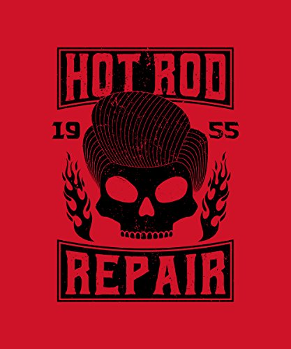 -- Rockabilly Hot Rod Repair -- Baumwolltasche Rot
