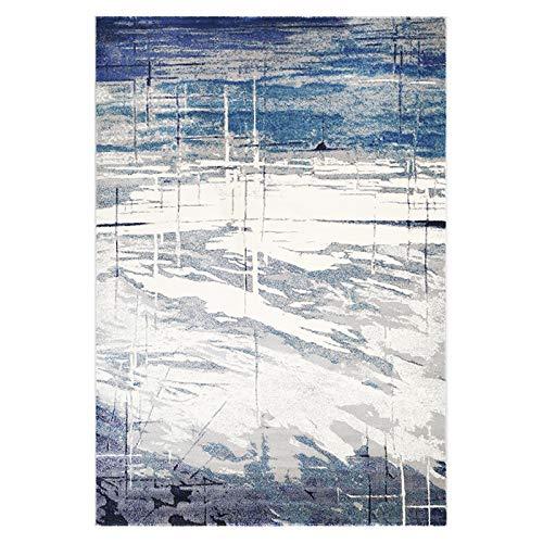 ZHANGOR Teppich-Kunst Gemalter Abstrakter Teppich-Wohnzimmer/Innen/Schlafzimmer/Studie/Restaurant, Erwachsener/Kind/Haustier, Wasser/Maschinenwäsche, Polypropylen, Blaues Grau, 120Cm * 80Cm