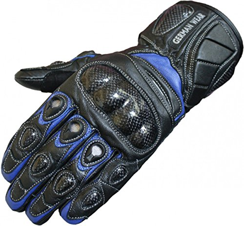 German Wear Motorradhandschuhe Motorrad Biker Handschuhe Lederhandschuhe, Größe:8=M, Farbe:Blau Leder-biker-wear