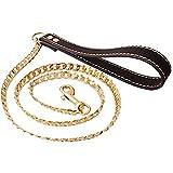 Full Gold in acciaio INOX Dog choke Chain Collar Pet formazione guinzaglio del manico cromato e Acciaio inossidabile, colore: Black Leather Handle, cod. IQYS005H