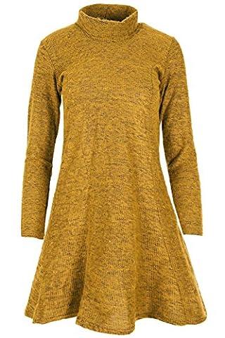 BE JEALOUS à manches longues pour Femmes Robe Évasée femmes Évasé tricoté Pull Col Bénitier Robe - Moutarde, Grande Taille (EU 52/54)