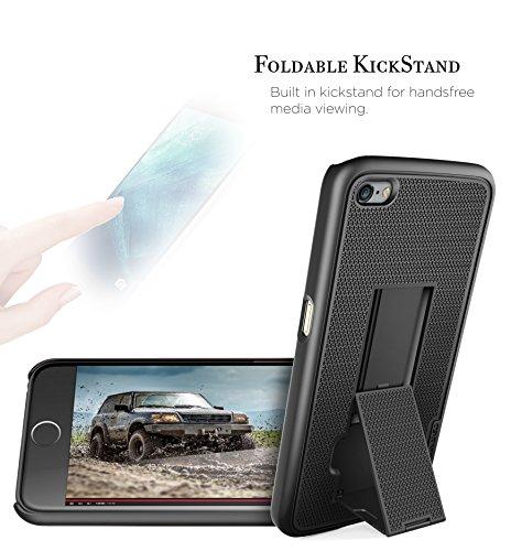 "iPhone 6S (4.7"") Black Slim Case & Belt Clip Holster w/ Kickstand (Encased® 2015 Reinforced ArmorLite Series) Black"