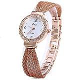 Ladies watch Analog Quartz Fashion Elegant Wrist Bracelet Watch Rhinestone Dial Stainless Steel Band (round dial, Rose Gold)