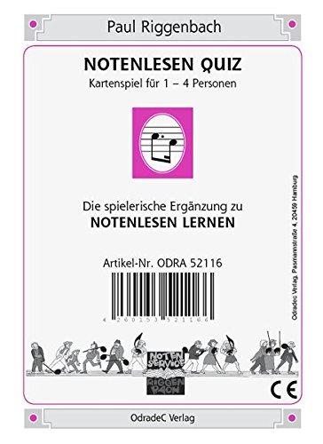 Notenlesen Quiz. Kartenspiel für 1-4 Personen. Die spielerische Ergänzung zu NOTENLESEN LERNEN (Musik lernen)