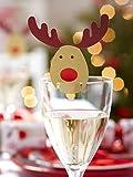 Rocking Rudolf Rentier Glas-Markierer 10 Stück Weihnachtsdeko braun-rot 9x5,5cm Einheitsgröße