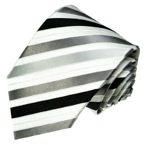 Lorenzo Cana - silber schwarz weiss gestreifte Luxuskrawatte aus 100% Seide - Das Accessoires für den stilvollen Mann - 84194