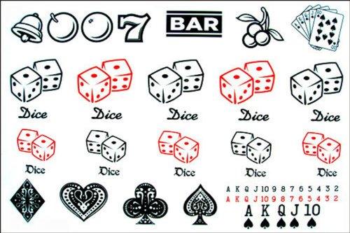 Hommes et des femmes de mode de faux tatouages casino poker étanche faux tatouage