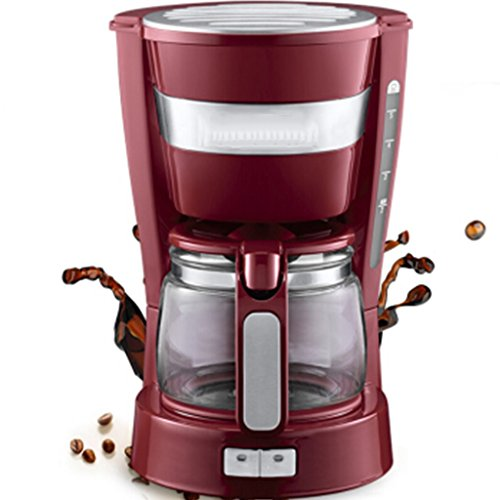 Kaffeemaschine Tropf Halbautomatische Kaffee Topf Haushalt Kommerziellen Tee Maschine Glaskaffeekanne (Farbe : Red)