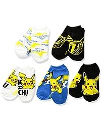 Pokemon Big Boys' 5pk No Show Socks, Assorted Bright, 6-8.5