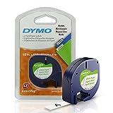 DYMO 10697 Selbstklebendes Papierband für LetraTag Etikettierer, 1,27 cm, Weiß, 3-Fuß-Rolle, 2 Stück Papier 2-roll pack Black Print on White