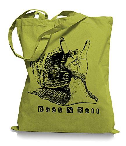 Ma2ca® Rock n Roll Slug - Jutebeutel Stoffbeutel Tragetasche / Bag WM101 Kiwi