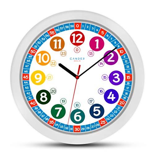 Cander Berlin MNU 1030 Kinderwanduhr (Ø) 30,5 cm Kinder Wanduhr mit lautlosem Uhrenwerk und farbenfrohem Design - Ablesen der Uhrzeit lernen 1