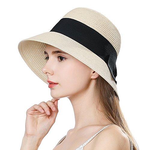 a1279c85a9d SiggiHat Ladies Summer Sun Hat Women Floppy Panama Straw Beach Hats Foldable  Wide Brim Fedora -