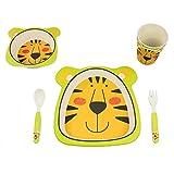 Bamboo Fox - Set di stoviglie per bambino, in bambù, con fantasia, 100% bambù bio, ecologico posate per bambini tigre