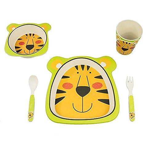 Bamboo Fox Straßenräuber Set de vaisselle enfant?Buntes Bambou vaisselle et couverts avec motifs?100% BIO Bambou?Respectueux de l'environnement - tigre