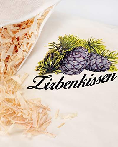 Zirbenkissen Zirbe mit Inlett 40×40 cm befüllt mit Zirbenspänen aus 100% Alpen Zirbenholz - 2